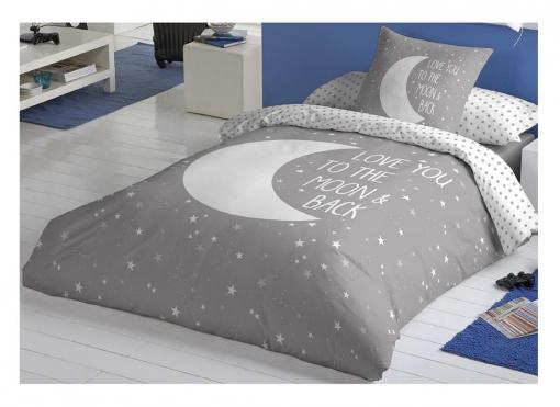 Cotton Artean - Funda Nordica Reversible Moon Grey Cama De 90. Algodón 100%