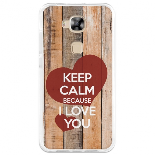 Funda Gel Huawei G8 Becool Keep Calm Because I Love You
