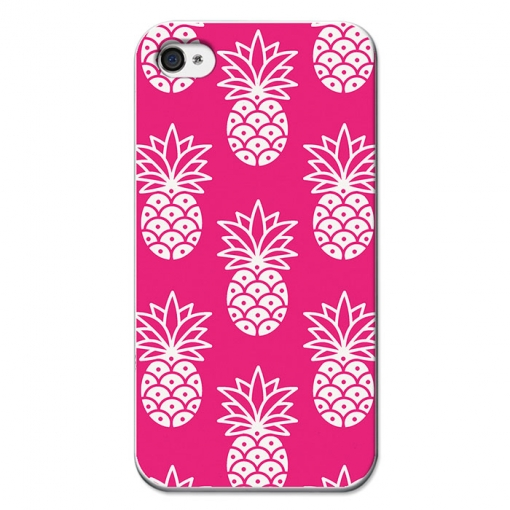 Funda Gel Iphone 4 Iphone 4s Becool Piñas Fondo Rosa