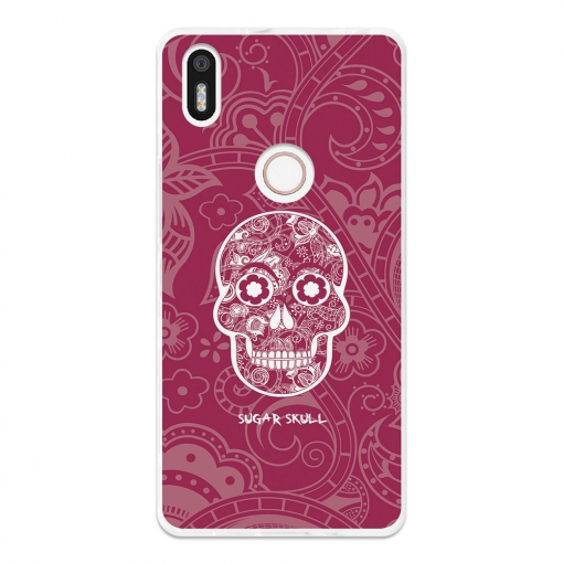 Funda Gel Flexible Tpu Para Bq Aquaris X5 Plus Calavera De Azúcar Rosa - Becool®