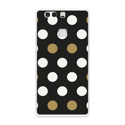 Funda Gel Flexible Tpu Para Huawei P9 Plus Puntos Blancos Y Dorados - Becool®