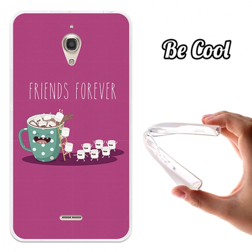 Funda Gel Flexible Tpu Para Alcatel Onetouch Pixi 4 6.0 Nubes Con Chocolate Para Siempre - Rosa - Becool®