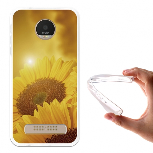 Funda Gel Flexible Tpu Girasoles Y Nubes Para Moto Z Play - Becool®
