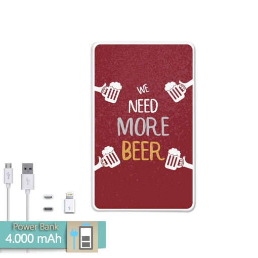 Bateria Externa Power Bank 4000mah ¡otra Cerveza! + Gratis Cable Usb-microusb Y Adaptador Lightning - Becool®