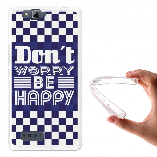 Becool ® - Funda Gel Don't Worry, Be Happy Para Meo Smart A90