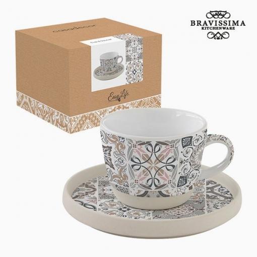 Taza Con Plato Porcelana Mosaico By Bravissima Kitchen
