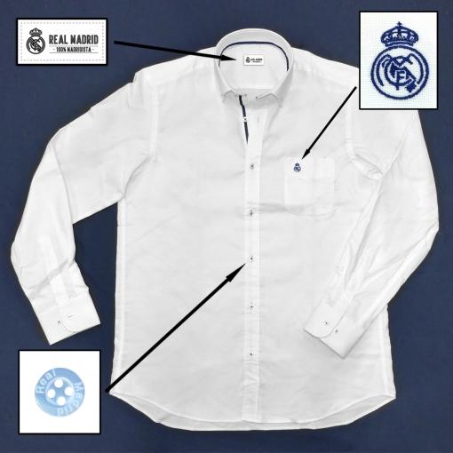 Camisa Hombre Oficial Real Madrid Con Bolsillo Y Escudo Bordado