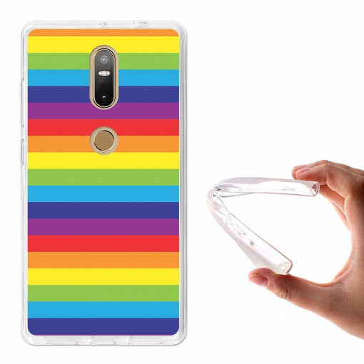 Becool® - Fundas Gel Lineas Arcoiris Para Lenovo Phab 2 Plus