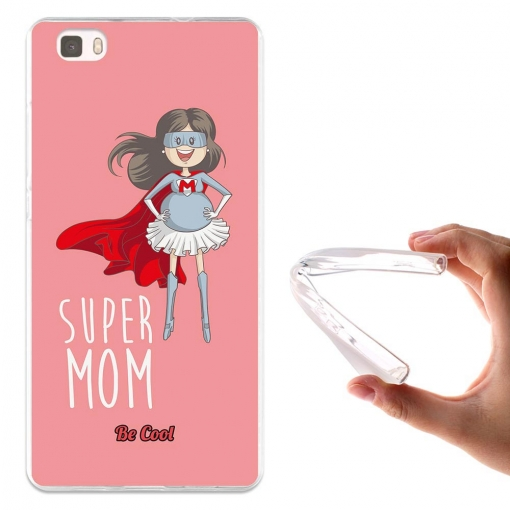 Funda Gel Para Huawei P8 Lite Regalos Para Madres Super Mom 3 Rosa - Becool®