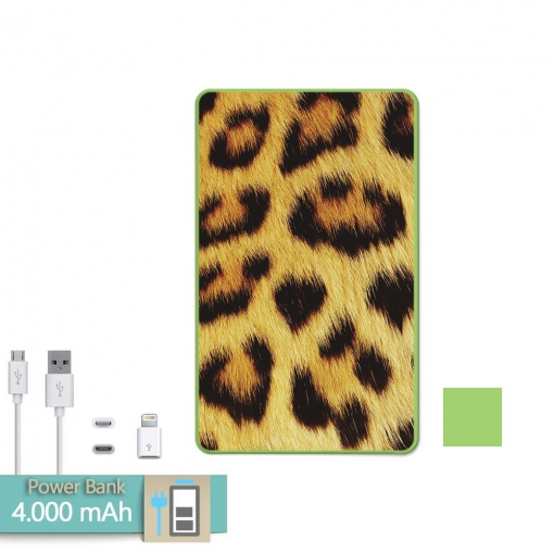 Batería Externa Power Bank 4000 Mah Verde Animal Print Leopardo + Gratis Cable Usb-microusb Y Adaptador Lightning - Becool®
