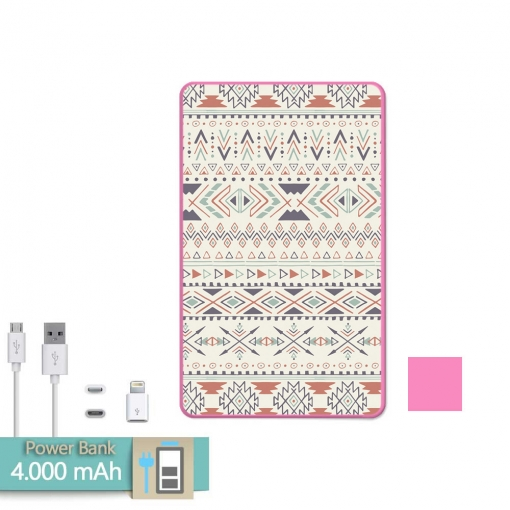 Batería Externa Power Bank 4000 Mah Rosa Tribal Azteca Amarillo + Gratis Cable Usb-microusb Y Adaptador Lightning - Becool®