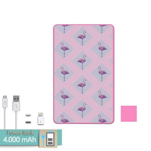 Batería Externa Power Bank 4000 Mah Rosa Flamingo Rosa + Gratis Cable  Usb-microusb Y 9c71da8a95a32