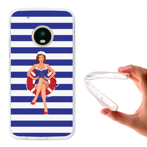 Becool® - Fundas Gel Marinera Pin Up Para Moto G5 Plus
