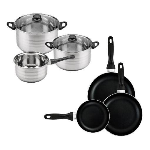Batería De Cocina Sip 5 Piezas (cazo + Dos Ollas Con Tapa De Vidrio) Con Set De 3 Sartenes Ø16/20/24 Cms., Inducción