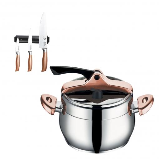 Inf. Chefs: Olla A Presion 22cm 6l Y Set 3 Cuchillos