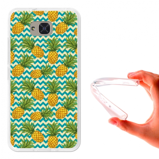 Funda Gel Para Bq Aquaris U2. Piñas Olas Verdes - German Tech®