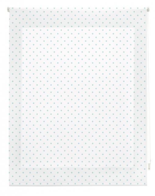 Estor Enrollable Happystor Estampado Digital Motas Blanco-turquesa 120x250