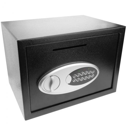 Primematik - Caja Fuerte De Seguridad De Acero Con Llaves Y Ranura 35x25x25cm Negra By06000