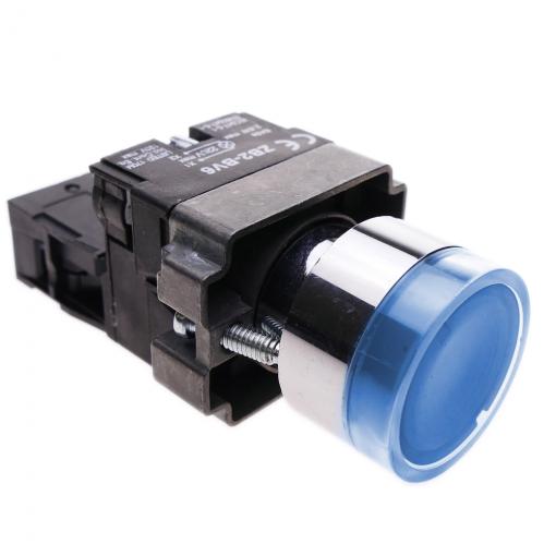Pulsador momentaneo 22mm 1NO 400V 10A normal abierto con luz LED azul BeMatik