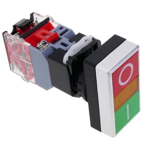BeMatik Caja de Control con 3 pulsadores momentaneos Verde 1NO Rojo 1NC