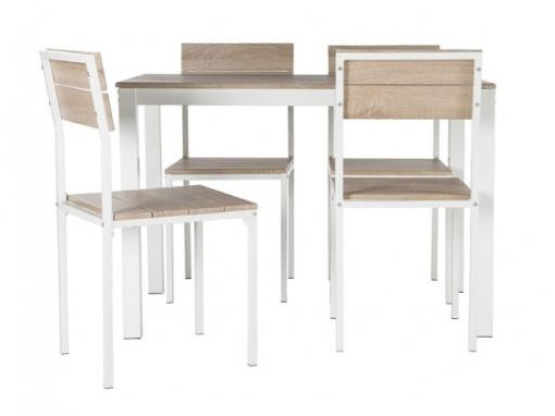 Pack De Mesa + Sillas Xobe, Para Comedor, Salón O Cocina En Color Taupe Y  Blanco, Con Una Resistente Estructura Metálica