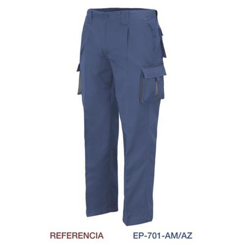 Pantalon Multibolsillo Con Refuerzo Marino L9000 T-48