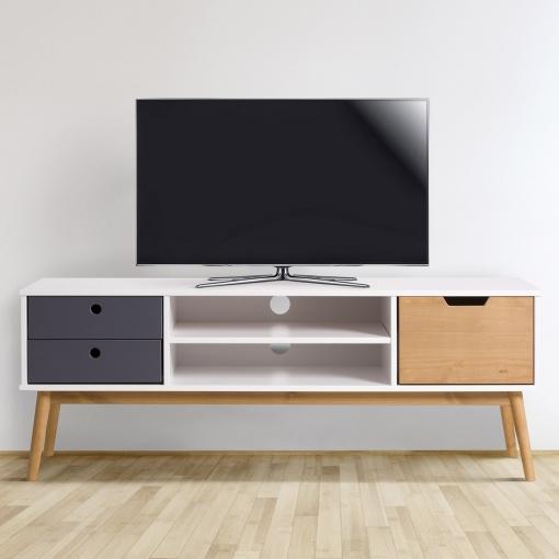 Mueble tv leti blanco pino macizo 1 puerta y 2 cajones for Mesas de televisor modernas