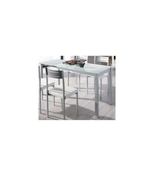Mesa Extensible Comedor O Cocina Cristal Blanca , Color - Blanco