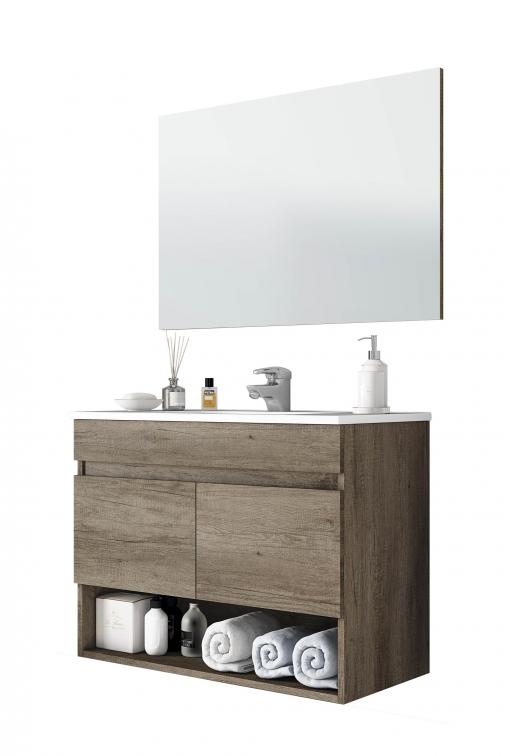 411ca8b5f988 Mueble De Baño Suspendido Con Espejo Incluido De Diseño Moderno Con Dos  Puertas Y Hueco Abierto 80x45x64 Cm Sin Lavamanos