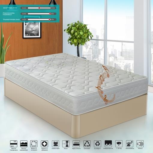 Colchón Visco Lavanda Con Tratamiento Bayscent  Con Altavoz Bluetooth 180x180x20