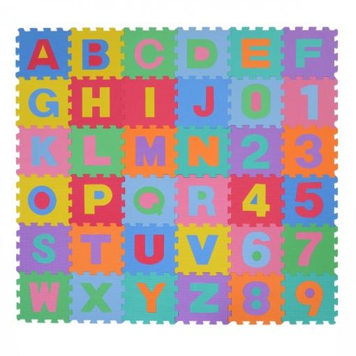 homcom® alfombra puzle 192x192cm niños 3 años 36 piezas numeros 0 al