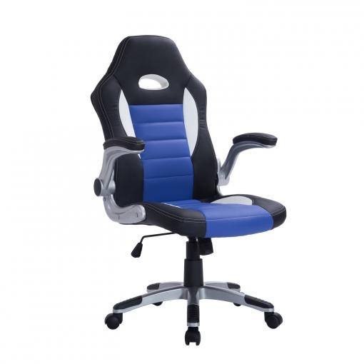 Homcom® Silla Oficina Ejecutiva Giratoria Negro Azul Y Blanco con ...