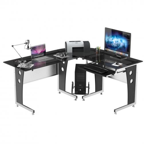 Mesa de oficina tipo escritorio para ordenador de cristal Mesa escritorio carrefour