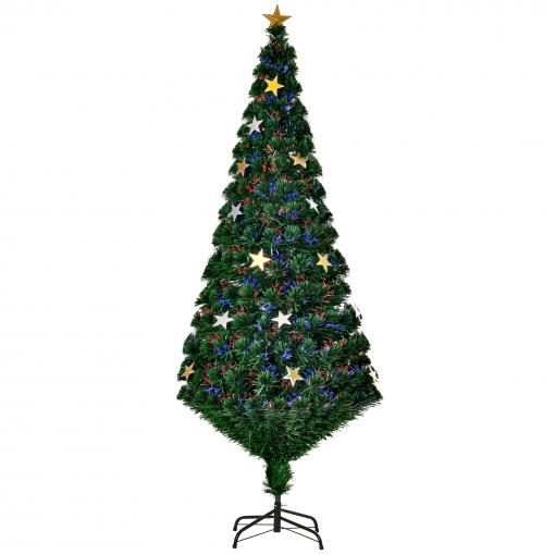 Homcom árbol De Navidad Verde φ80x180cm árbol De Fibra óptica Con 28