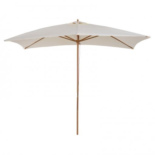 Sombrilla Tipo Parasol Para Terraza Y Jardín Color Crema Madera 200x300x250cm