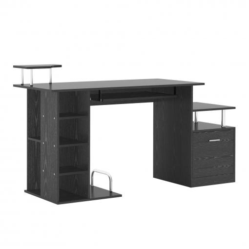 Homcom® Mesa De Ordenador Escritorio Para Oficina Negro Madera Mdf  152x60x88cm