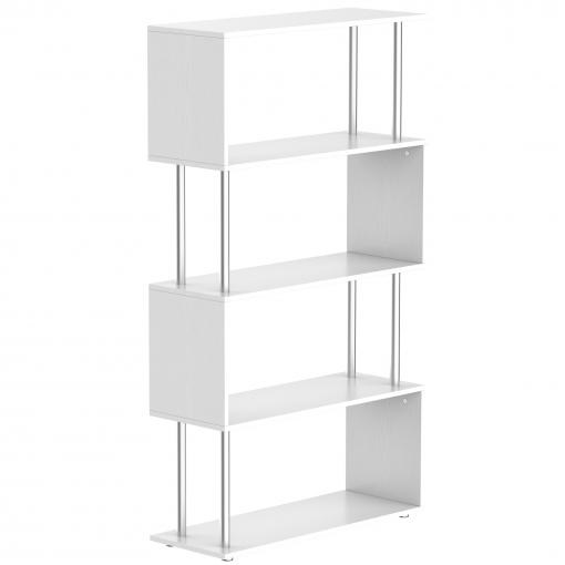 Muebles De Oficina De Madera.Homcom Libreria Muebles Para Oficina Estanteria Color Blanco Madera Y Metal 145x80x30cm