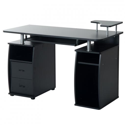 Homcom Mesa De Escritorio Para Ordenador Mobiliario De Despacho Y Oficina  Color Negro Madera 120x55x85cm