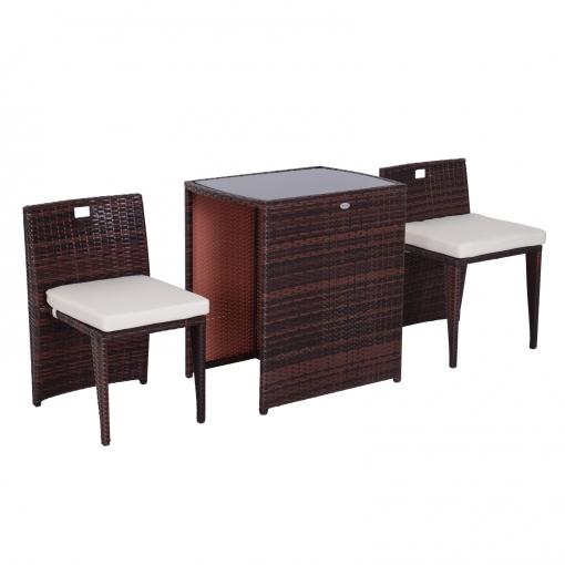 Conjunto Muebles De Exterior 1 Mesa Y 2 Sillas Para Jardín Y Terraza Ratán Sintético Marrón