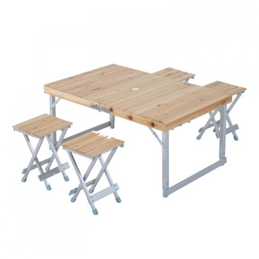 Mesa port til y plegable para camping y picnic madera for Mesa de camping plegable de aluminio