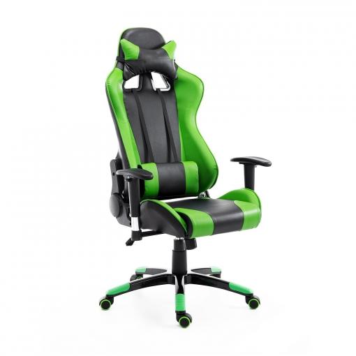 Homcom Silla De Oficina Gaming Elevable Y Giratoria Color Verde Cuero Pu, Pvc, Espuma Y Metal 67x67x123 132cm