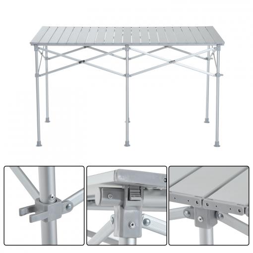 Material Camping Terraza O Homcom Plateado Mesa De Aluminio Plegable Jardín 124x70x68cm Para Color 7Ygbvf6y
