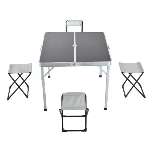 Mesa de camping con 4 sillas plegables aluminio 85 for Mesas de camping plegables carrefour