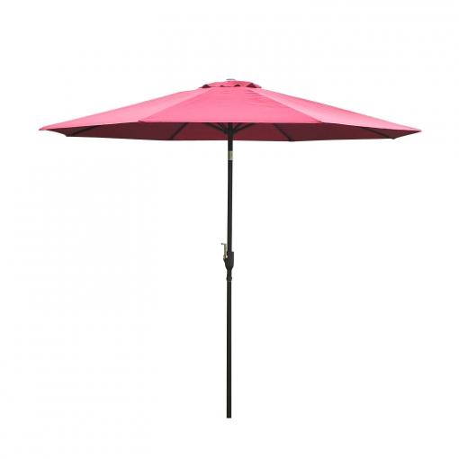 Sombrilla Reclinable Tipo Parasol Para Terraza Y Jardín Color Vino Tinto Hierro φ3x2 45m