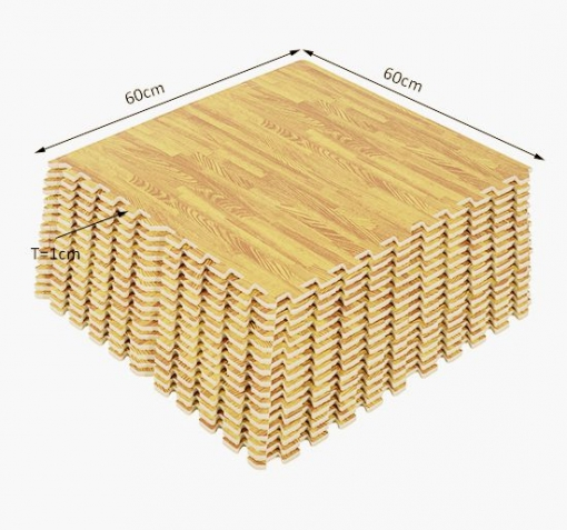 alfombra puzzle para niños o gimnasio– color madera – goma espuma