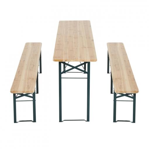 Outsunny Conjunto De Muebles Para Jardín Terraza Patio Camping O Picnic Color Madera Hierro Y Madera 2 Bancos 1 Mesa