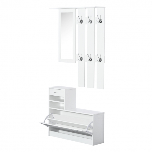 Homcom conjunto de muebles de entrada tipo recibidor color blanco tablero de part cula Perchero entrada recibidor