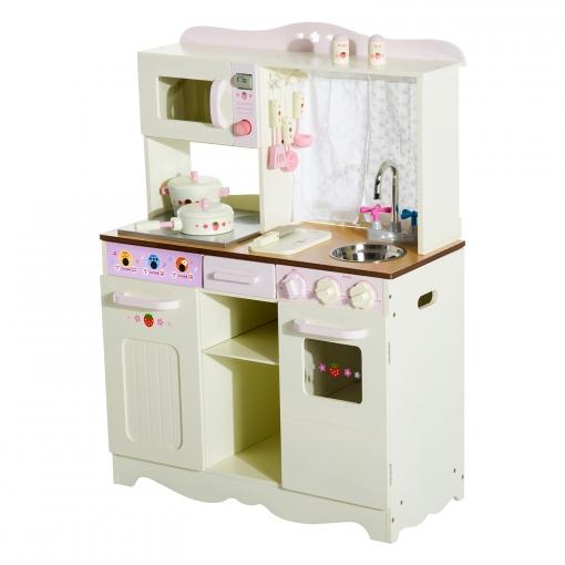 Homcom Madera Con Lujo Accesorios Juguete Grande Color De Y Crema Cocina Imitación 70x30x90cm Juego vm8OynwN0P