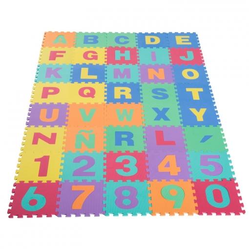 homcom® alfombra puzle para niños 3.6㎡ letras abecedario y números