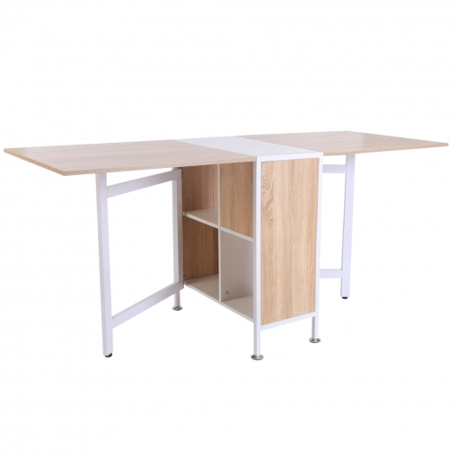 Homcom® Mesa Plegable De Almacenaje 4 Estantes Para Comedor Salón ...